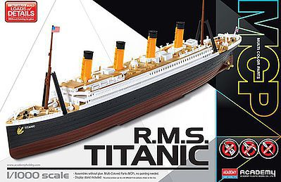 Academy Plastics RMS Titanic Ocean Liner (Snap) -- Plastic Model Ship Detail Kit -- 1/1000 Scale -- #14217