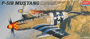 Academy Plastics P51B Mustang Fighter -- Plastic Model Airplane Kit -- 1/72 Scale -- #1667