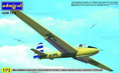 Admiral Models LET LF107 Lunak Glider Aircraft -- Plastic Model Airplane Kit - 1/72 Scale -- #7218