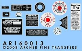 Archer M16 Halftrack Instruments & Placards Plastic Model Vehicle Decal 1/16 Scale #16013