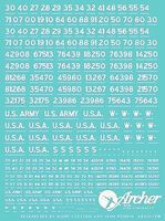 Archer US Vehicle Registration Codes Plastic Model Vehicle Decal 1/35 Scale #35019w