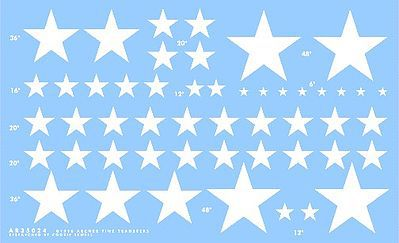 Archer US Stars for M8/M7, M10/M12, DUKW/GPA (W) Plastic Model Vehicle Stencil 1/35 Scale #35024w