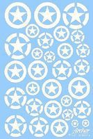 Archer US Vehicle Stars in Circles (White Stencil) Plastic Model Vehicle Decal 1/35 Scale #35048w