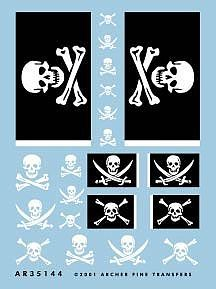 Archer Fine Transfers Jolly Rogers Flags & Skull/Crossbones Insignias -- Plastic Model Decal -- 1/35 Scale -- #35144