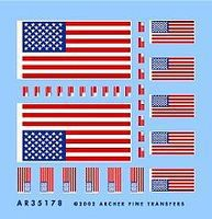 Archer American 50-Star Flags Plastic Model Vehicle Decal 1/35 Scale #35178