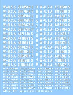 Archer US Late War Registration Codes for Trucks & Ambulances Plastic Model Stencil 1/35 #35184