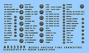 Archer US Vehicle Instruments & Interior Stenciling Plastic Model Vehicle Decal 1/35 Scale #35209b