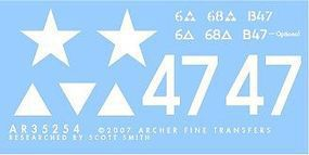 Archer US 6th A.D. M4 Early 47 Plastic Model Vehicle Decal 1/35 Scale #35254