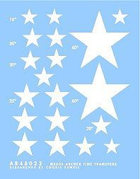 Archer Fine Transfers Stars for Sherman Tanks (White) -- Plastic Model Vehicle Decal -- 1/48 Scale -- #48022w