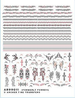 Archer Fine Transfers Celtic/Tribal Tattoos & Bands -- Plastic Model Decal -- 1/12 Scale -- #99011