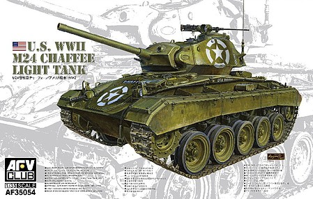 AFVClub US M24 Chaffe Light Tank Plastic Model Military Vehicle Kit 1/35 Scale #35054