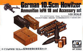 AFVClub German 10.5cm Howitzer Ammo & Accessory Set Plastic Model Military Weapons 1/35 #35062