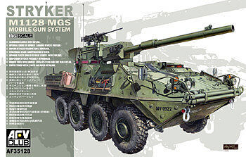 AFV Club Stryker M1128 MGS Vehicle -- Plastic Model Armoured Car Kit -- 1/35 Scale -- #35128