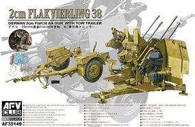 AFVClub German 2cm Flak 38 Anti-Aircraft Gun w/Tow Trailer Plastic Model Artillery Kit 1/35 #35149