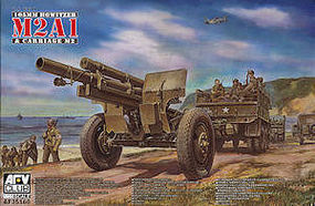 AFVClub WWII US 105mm Howitzer M2A1 & M2 Carriage Plastic Model Artillery Kit 1/35 Scale #35160