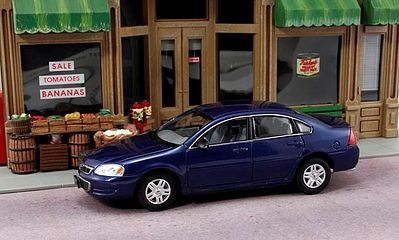 American Heritage Car Co. 2011 Chevy Impala (Blue) -- O Scale Model Railroad Vehicle -- #43603