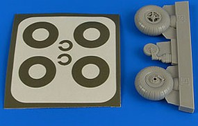Aires 1/32 Bucker Bu131 Wheels & Paint Masks Transverse Tread w/o Disc