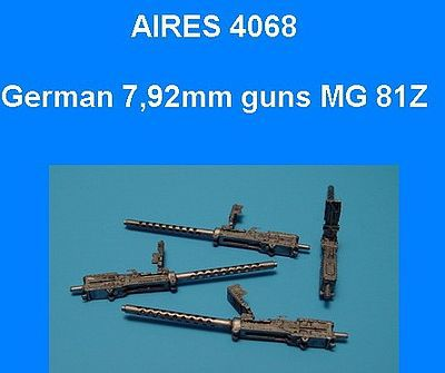 Aires Hobby German 7.92mm MG81 Double Barrel Gun (4) (D) -- Plastic Model Vehicle Accessory -- 1/48 -- #4068
