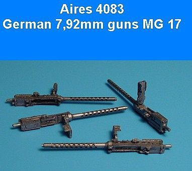 Aires Hobby German 7.92mm Machine Gun 17 (2) (Resin) -- Plastic Model Military Weapon -- 1/48 Scale -- #4083
