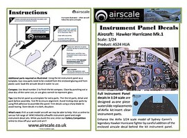Airscale 1/24 Hawker Hurricane Mk I Instrument Panel (Decal)