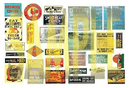 A I M Products ''Faded Glory'' Series Weathered Vintage Signs/Posters -- Set #10 - HO-Scale
