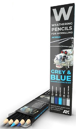 AK Weathering Pencils- Grey & Blue Shading & Effects Set (5 Colors)