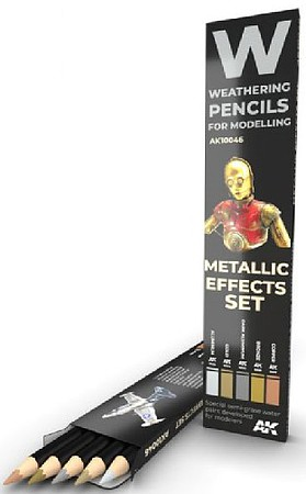 AK Weathering Pencils- Metallic Effects Set (5 Colors)