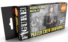 AK Figures Series- Panzer Crew Black Uniforms Acrylic Paint Set (6 Colors) 17ml Bottles