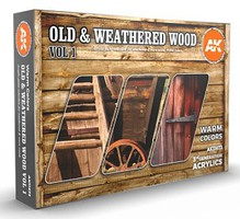 AK Old & Weathered Wood Vol.1 Acrylic Paint Set (6 Colors) 17ml Bottles