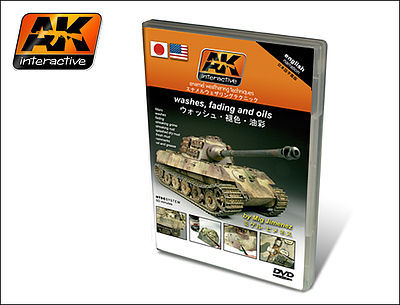AK Interactive Washes, Fading, Oils Enamel Weathering Techniques (NTSC) DVD -- How To Model Book -- #117
