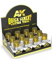 AK (bulk of 12) Quick Cement Extra Thin 40ml Bottles Display