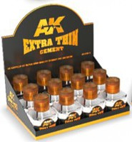 AK (bulk of 12) Extra Thin Cement 40ml Bottles Display