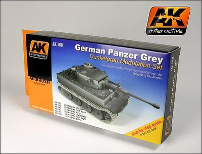 AK German Panzer Grey Modulation Acrylic Hobby and Model Paint Set #160