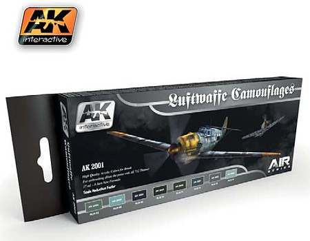 AK Air Series Luftwaffe Camouflages Acrylic Hobby and Model Paint Set #2001