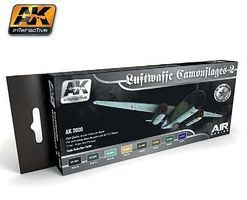 AK Air Series Luftwaffe Camouflages Set 2 Acrylic Hobby and Model Paint Set #2020