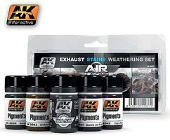 AK Air Series Exhaust Weathering Set (5 Colors) 35ml Bottles Hobby and Model Paint Set #2037