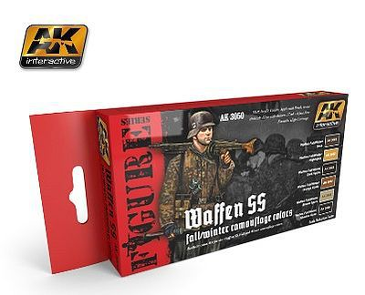 AK Figure Series Waffen SS Fall/Winter Camouflage Acrylic Hobby and Model Paint Set #3050