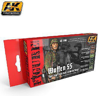 AK Waffen SS Spring/Summer Camouflage Acrylic Paint Set (6 Colors) Hobby and Model Paint #3060