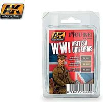 AK Figure Series- WWI British Uniforms Acrylic Hobby and Model Paint Set #3080