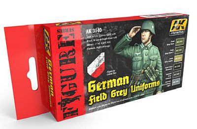 AK German Field Grey Uniforms (6 Colors) 17ml Bottles Hobby and Model Acrylic Paint #3140