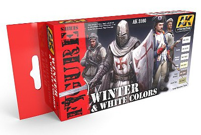AK White & Winter Colors Acrylic Paint Set (6 Colors) 17ml Hobby and Model Paint Supply #3160