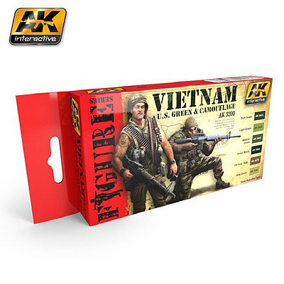 AK Vietnam US Green & Camouflage Acrylic Paint Set (6) 17ml Hobby and Model Paint Supply #3200