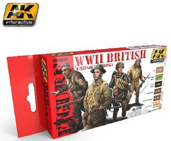AK Figure Series- WWII British Uniform Colors Acrylic Paint Set (6 Colors) 17ml Bottles