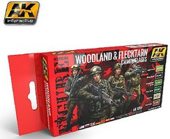 AK Figure Series- Woodland & Flecktarn Camouflage Acrylic Paint Set (6 Colors) 17ml Bottles
