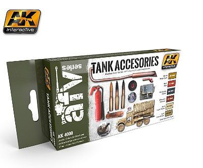 AK Tank Accessories Acrylic Paint Hobby and Model Paint Set #4000
