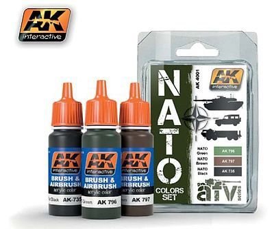 AK NATO AFV Colors Acrylic Paint Hobby and Model Paint Set #4001