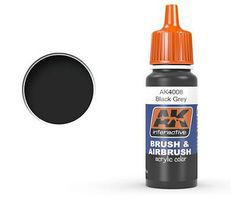 AK Black Grey Acrylic Paint 17ml Bottle Hobby and Model Acrylic Paint #4008