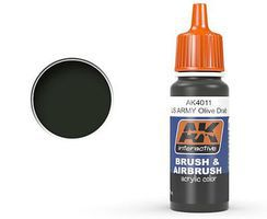 AK US Army Olive Drab Acrylic Paint 17ml Bottle Hobby and Model Acrylic Paint #4011
