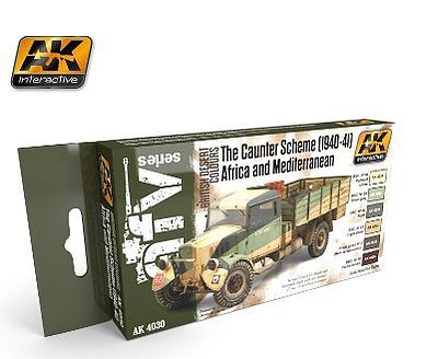 AK Caunter Scheme 1940-41 Africa & Mediterranean Acrylic Hobby and Model Paint Set #4030