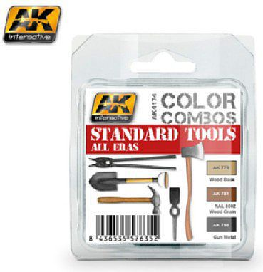 AK Color Combos Standard Tools All Eras Acrylic Paint Set (3 Colors) Hobby and Model Paint #4174